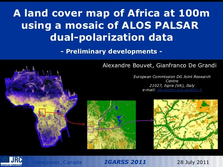 A land cover map of Africa at 100m using a mosaic of ALOS PALSAR  dual-polarization data   - Preliminary developments - Al...