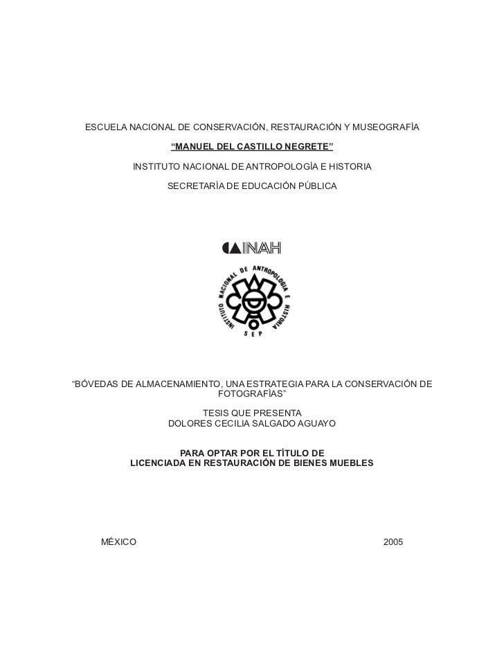 """ESCUELA NACIONAL DE CONSERVACIÓN, RESTAURACIÓN Y MUSEOGRAFÍA                      """"MANUEL DEL CASTILLO NEGRETE""""           ..."""