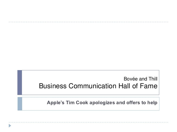 Bovée and ThillBusiness Communication Hall of Fame  Apple's Tim Cook apologizes and offers to help