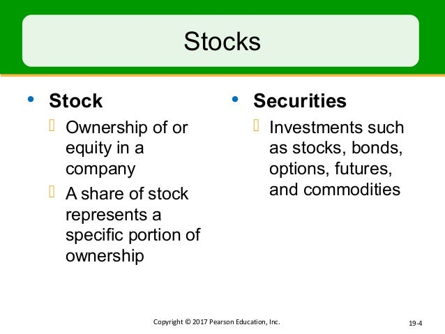 Stocks bonds options and futures are the four major types of