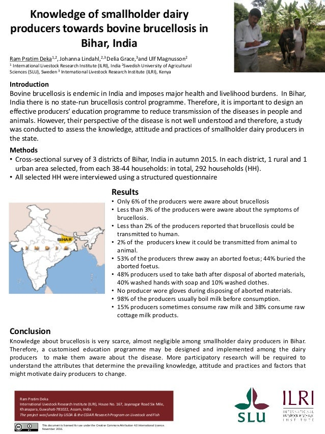 Knowledge of smallholder dairy producers towards bovine brucellosis in Bihar, India Introduction Bovine brucellosis is end...