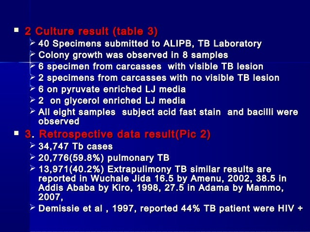 retrospective study of bovine tuberculosis in In countries where bovine tuberculosis is endemic and retrospective study among hiv tuberculosis from mycobacterium bovis in binational.