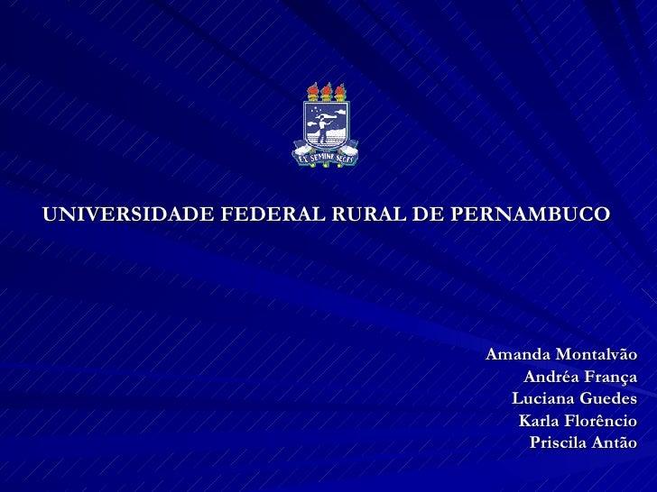 UNIVERSIDADE FEDERAL RURAL DE PERNAMBUCO Amanda Montalvão Andréa França Luciana Guedes Karla Florêncio Priscila Antão