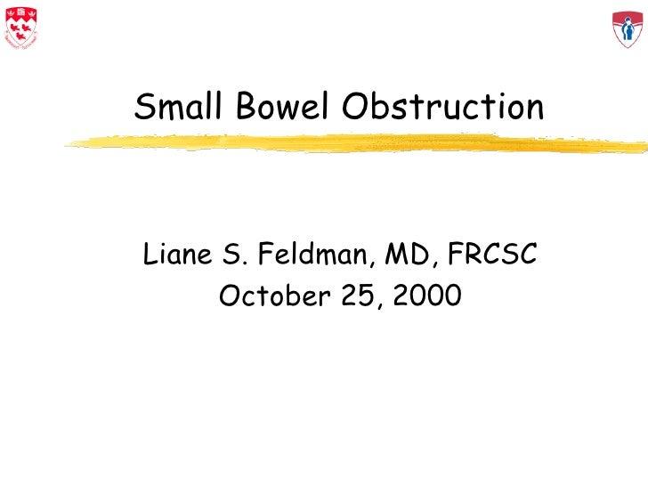 Small Bowel Obstruction Liane S. Feldman, MD, FRCSC October 25, 2000