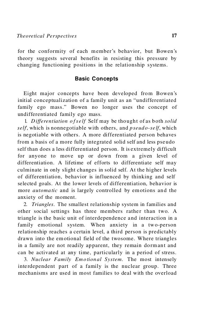 20 The Bowen Family Theory and Its Uses artificial and overly simplistic, Bowen's concepts postulate that family dependenc...