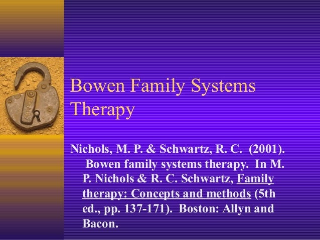 Bowen Family SystemsTherapyNichols, M. P. & Schwartz, R. C. (2001).   Bowen family systems therapy. In M.  P. Nichols & R....