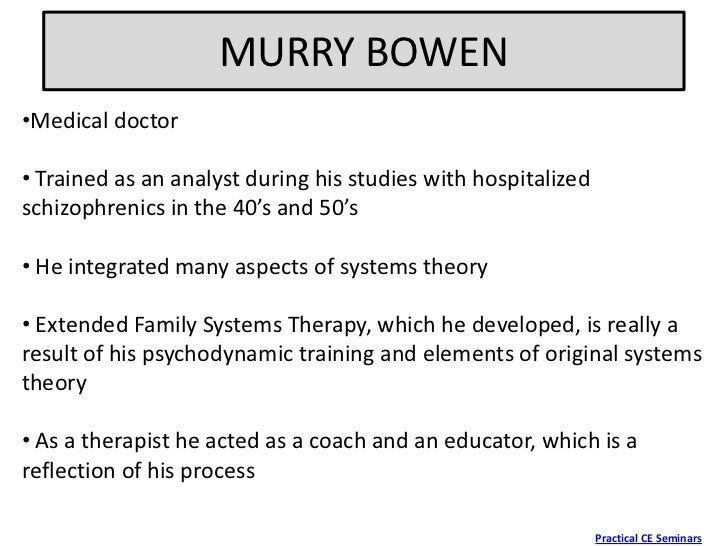 bowen theories 2018-6-12  free essay: comparison of bowen's and narrative therapy u07a1 compare and contrast two family therapy theories kimberly r.