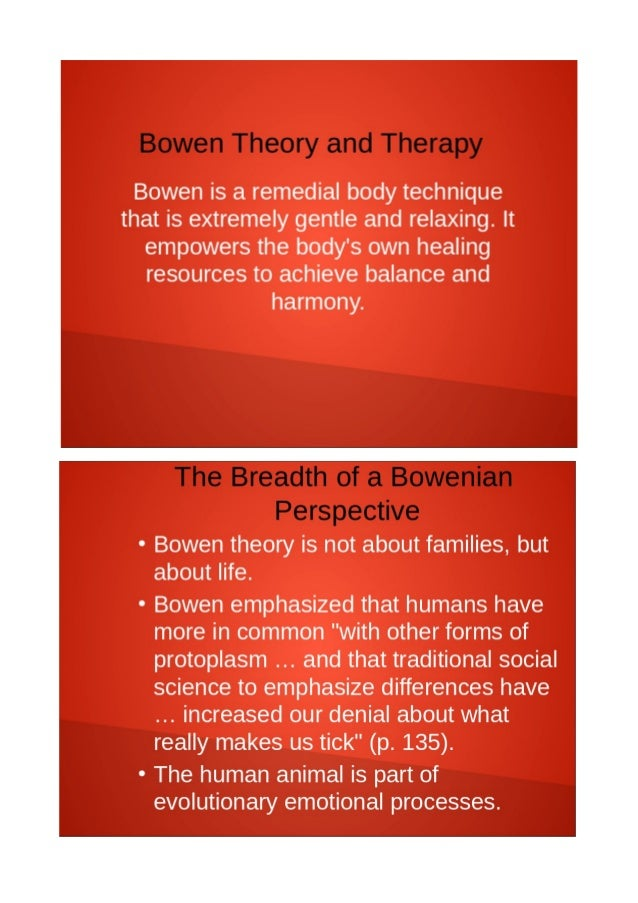 the bowenian approach to family therapy Family therapy institute of santa barbara – provides family therapy training and sliding scale services to families in a range of family therapy approaches about this contributor: laney cline king received her bachelor of science in psychology at the university of california, san diego and her masters in social work from columbia university, new.