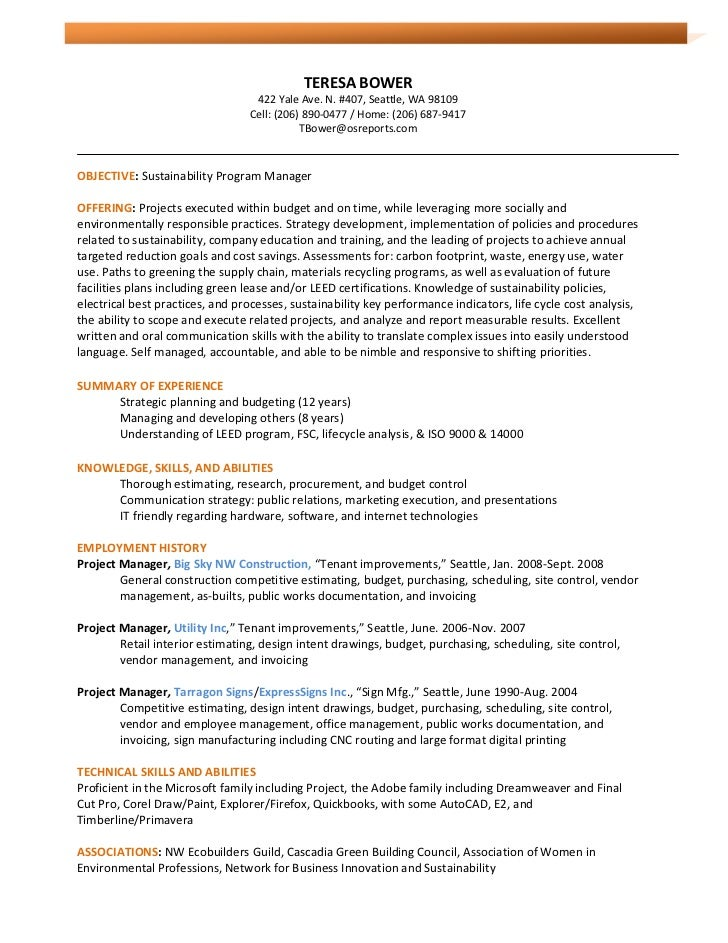 Bower Resume 3.16.11 Sustainability Pm