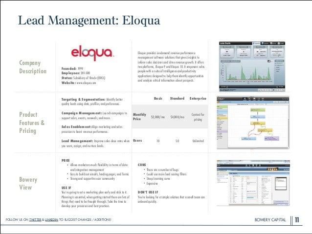 BOWERY CAPITALBOWERY CAPITALBOWERY CAPITAL Lead Management: Eloqua 11 Company Description ! ! ! ! Founded: 1999 Employees:...