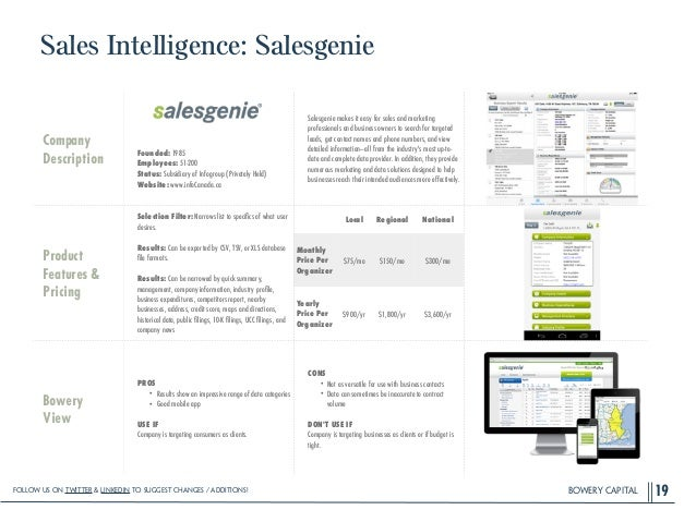 BOWERY CAPITAL Sales Intelligence: Salesgenie 19 Company Description ! ! ! ! Founded: 1985 Employees: 51-200 Status: Subsi...