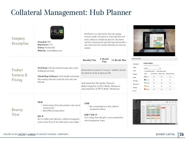 BOWERY CAPITAL Collateral Management: Hub Planner 26 Company Description ! ! ! ! Founded: 2013 Employees: 1-10 Status: Pri...