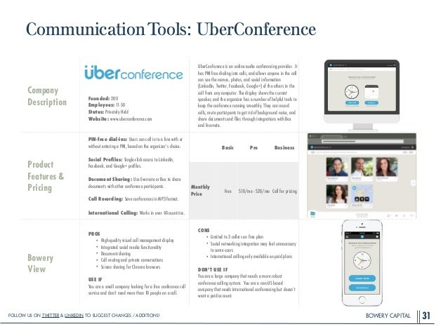 BOWERY CAPITAL CommunicationTools: UberConference 31 Company Description ! ! ! ! Founded: 2011 Employees: 11-50 Status: Pr...