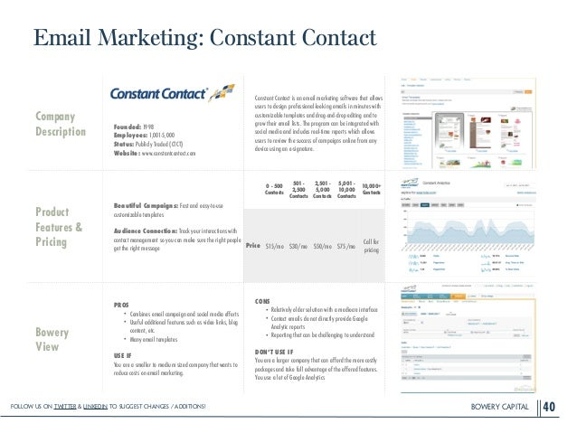 BOWERY CAPITAL Email Marketing: Constant Contact 40 Company Description ! ! ! ! Founded: 1998 Employees: 1,001-5,000 Statu...