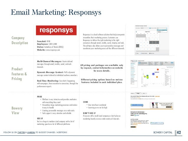 BOWERY CAPITAL Email Marketing: Responsys 42 Company Description ! ! ! ! Founded: 1998 Employees: 1,001-5,000 Status: Subs...