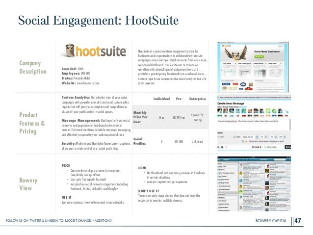 BOWERY CAPITAL Social Engagement: HootSuite 47 Company Description ! ! ! ! Founded: 2008 Employees: 201-500 Status: Privat...