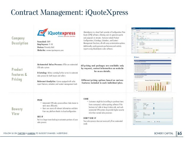 BOWERY CAPITAL Contract Management: iQuoteXpress 65 Company Description ! ! ! ! Founded: 2009 Employees: 11-50 Status: Pri...