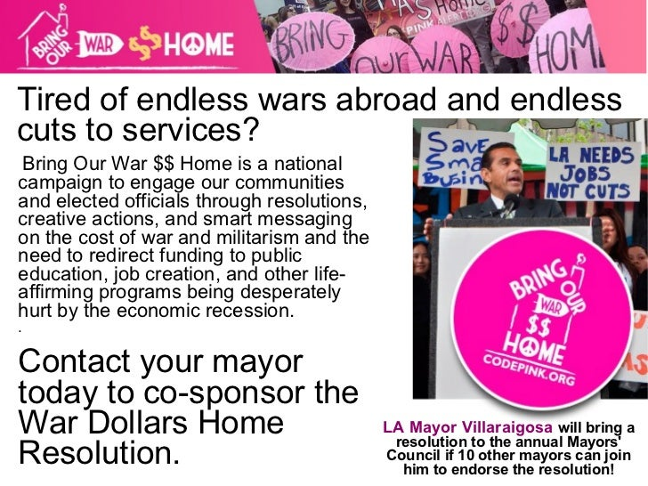 Tired of endless wars abroad and endless cuts to services? Bring Our War $$ Home is a national campaign to engage our comm...