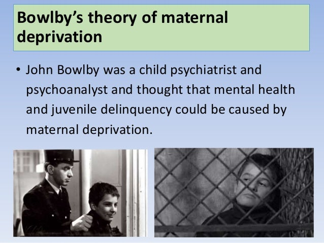 bowlby maternal deprivation essay Bowlby's theory of maternal deprivation • bowlby's theory of maternal deprivation romanian orphan studies: effects of institutionalisation.