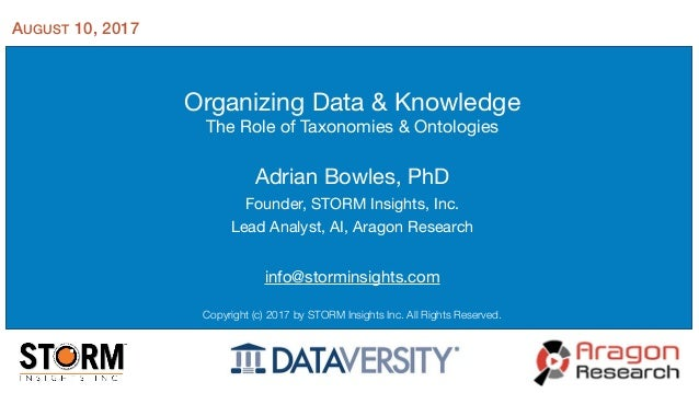 Organizing Data & Knowledge  The Role of Taxonomies & Ontologies Adrian Bowles, PhD  Founder, STORM Insights, Inc.  Lead A...