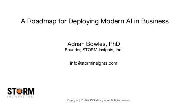 Copyright (c) 2016 by STORM Insights Inc. All Rights reserved. A Roadmap for Deploying Modern AI in Business