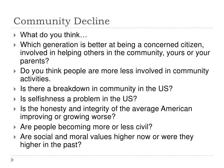 putnam bowling alone essay Bowling alone: america's declining social capital by robert d putnam when alexis de tocqueville visited the united states in the 1830s, it was the americans' propensity for civic association that most impressed him as the key to their unprecedented ability to make democracy work.