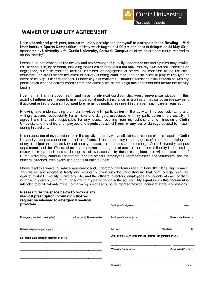 Bowling Waiver Of Liability Agreement