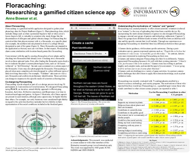 Floracaching: Researching a gamified citizen science app Anne Bowser et al. Figure 1: The Floracaching interface. This scr...