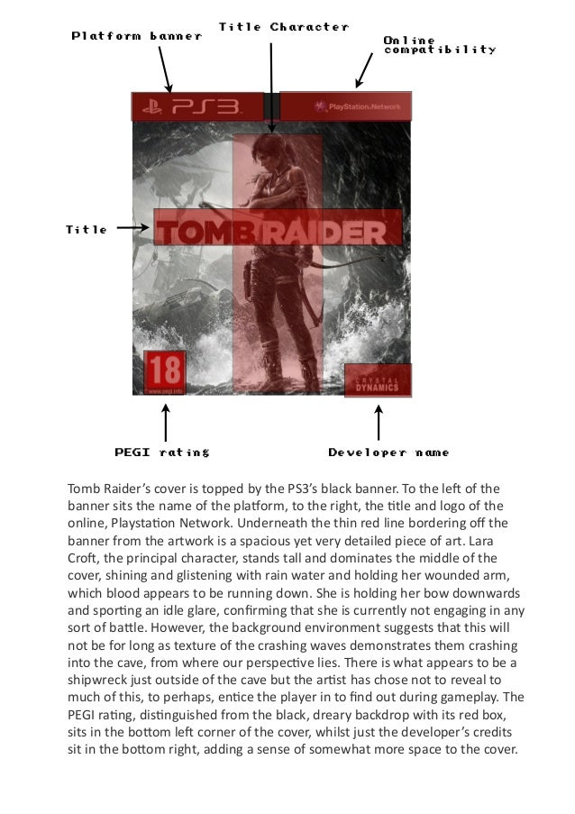 Platform banner Title Character Title PEGI rating Developer name Online compatibility Tomb  Raider's  cover  is  t...