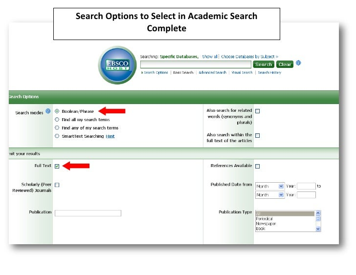 Search Options to Select in Academic Search                 Complete