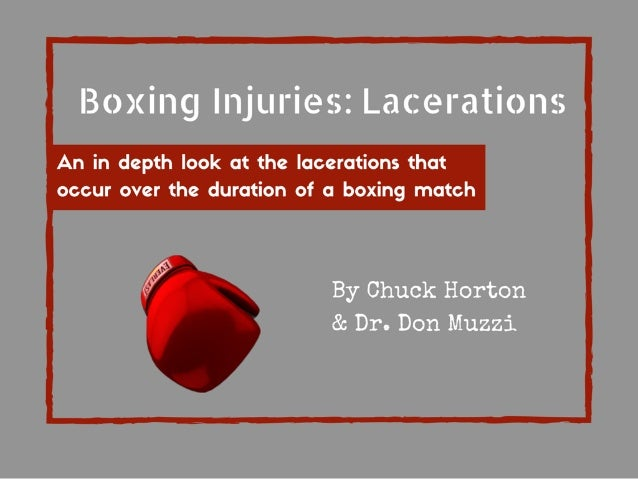 Boxing Injuries:  La<: erations  An in depth look at the lacerations that occur over the duration of a boxing match  f  I'...