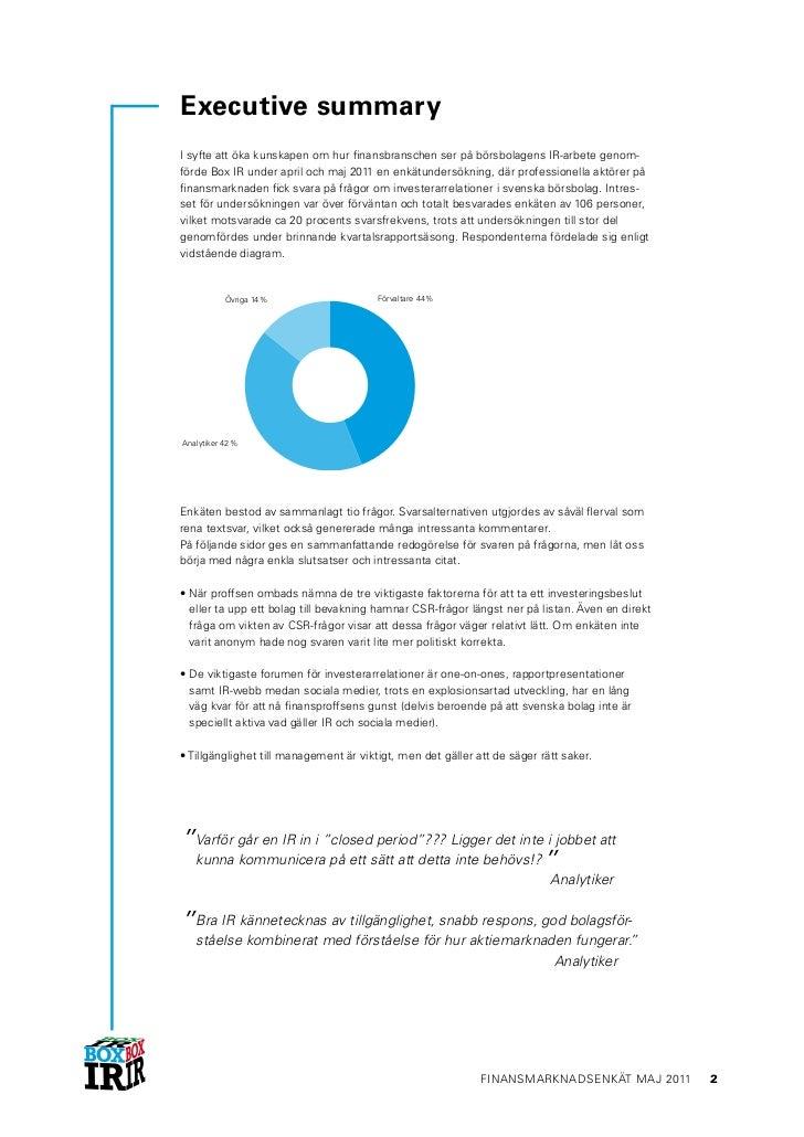 Box IR finansmarknadsenkät 2011 executive summary final Slide 2