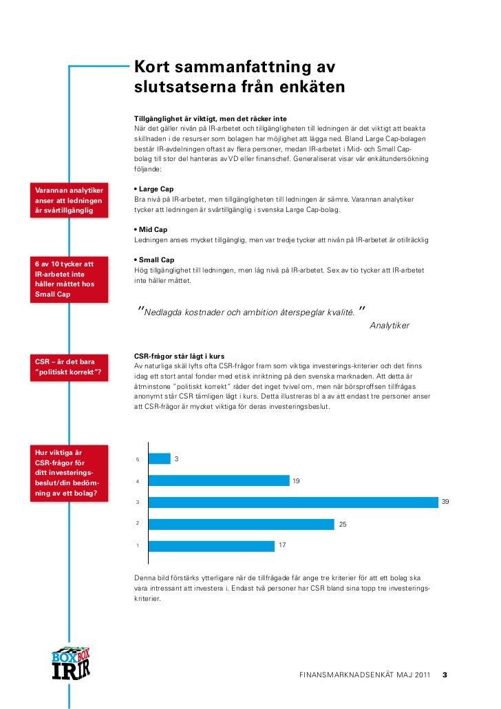 Box IR finansmarknadsenkät 2011 executive summary final Slide 3