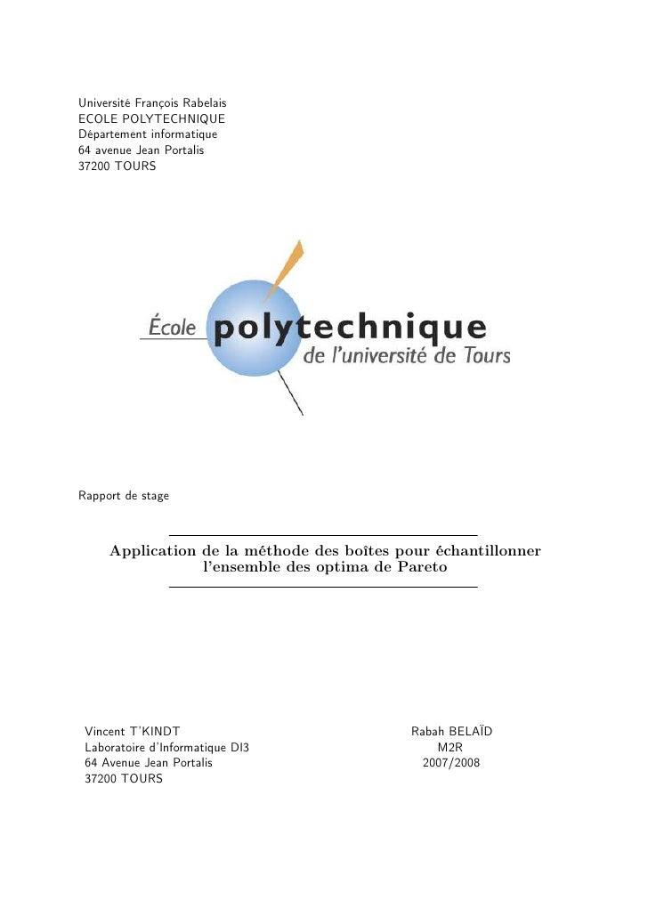 Université François Rabelais ECOLE POLYTECHNIQUE Département informatique 64 avenue Jean Portalis 37200 TOURS     Rapport ...