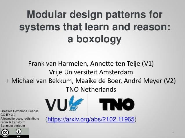 Modular design patterns for systems that learn and reason: a boxology Frank van Harmelen, Annette ten Teije (V1) Vrije Uni...