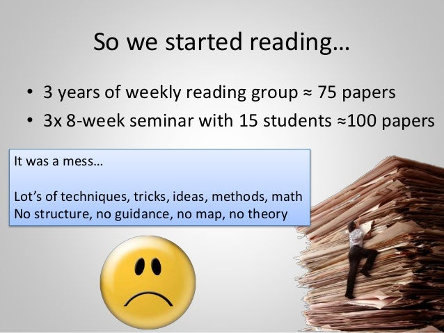 So we started reading… • 3 years of weekly reading group ≈ 75 papers • 3x 8-week seminar with 15 students ≈100 papers 13 I...