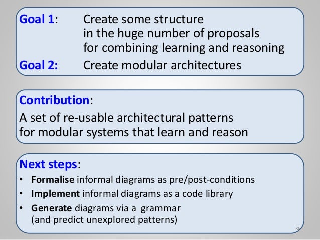 Goal 1: Create some structure in the huge number of proposals for combining learning and reasoning Goal 2: Create modular ...