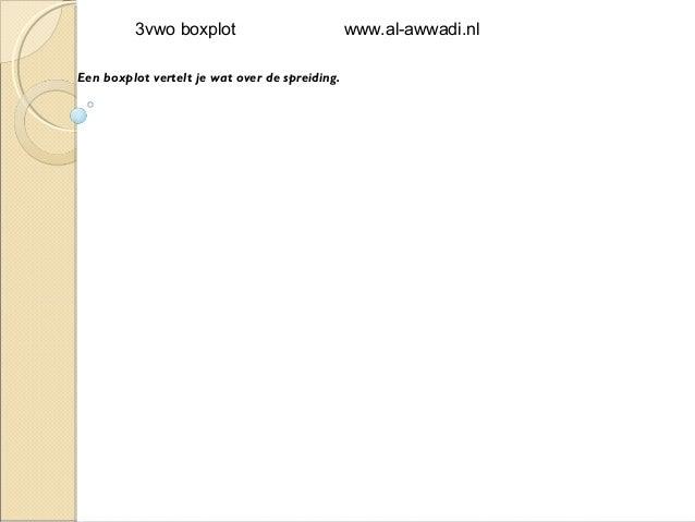 3vwo boxplot                           www.al-awwadi.nlEen boxplot vertelt je wat over de spreiding.