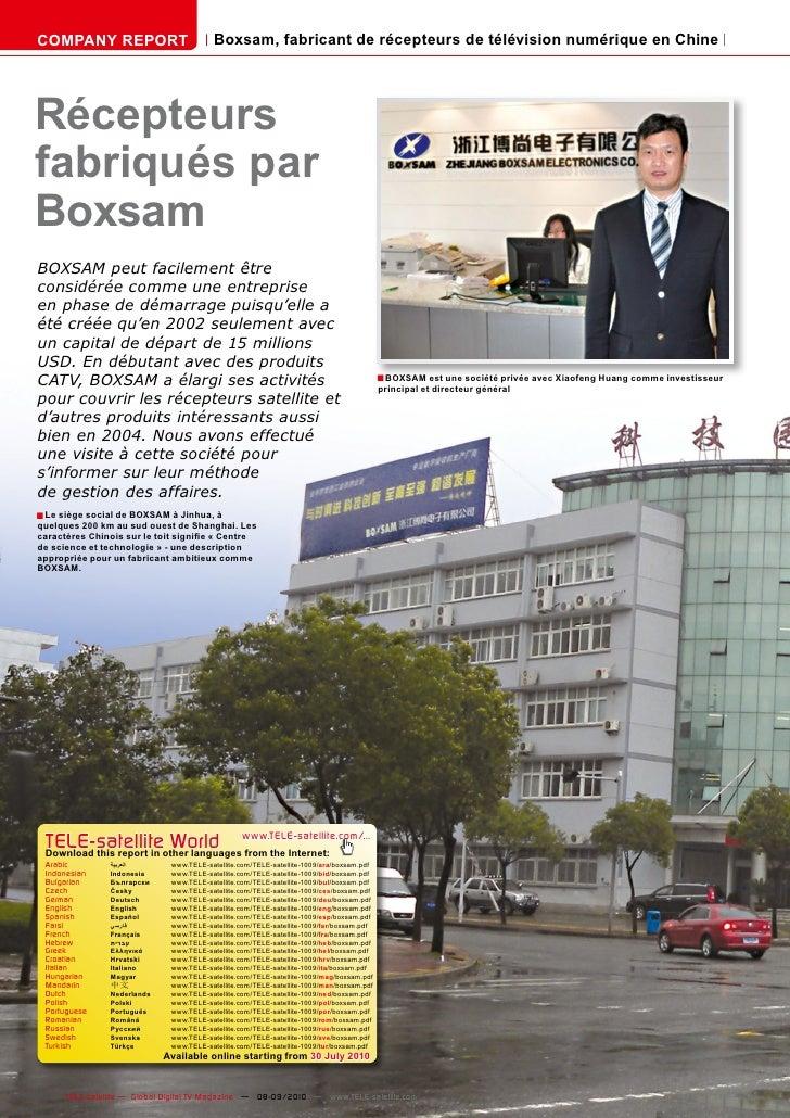 COMPANY REPORT                           Boxsam, fabricant de récepteurs de télévision numérique en Chine     Récepteurs f...
