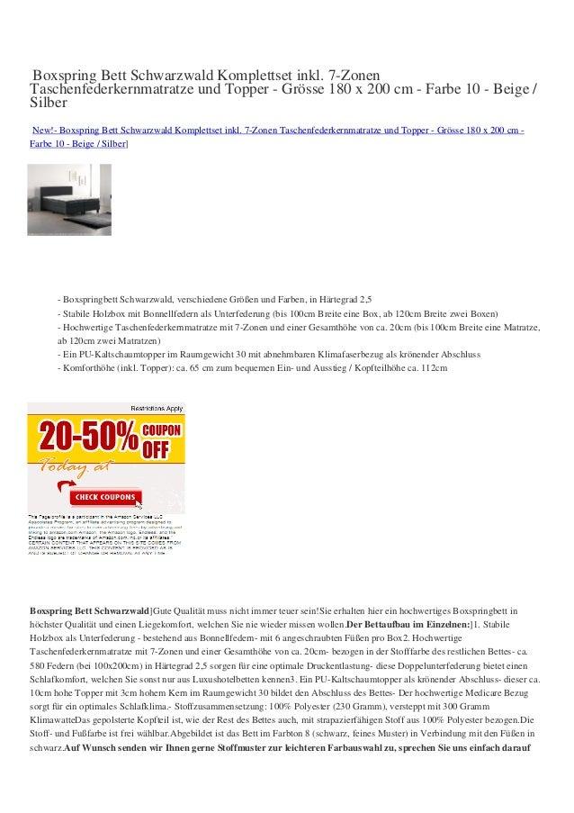 Boxspring Bett Schwarzwald Komplettset inkl. 7-ZonenTaschenfederkernmatratze und Topper - Grösse 180 x 200 cm - Farbe 10 -...