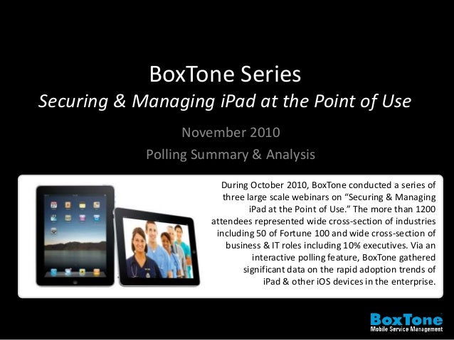 BoxTone Series Securing & Managing iPad at the Point of Use November 2010 Polling Summary & Analysis During October 2010, ...
