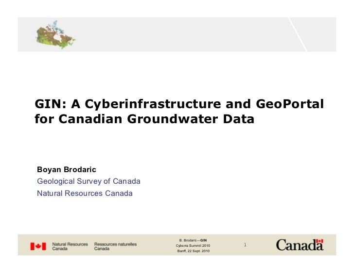 GIN: A Cyberinfrastructure and GeoPortal for Canadian Groundwater Data   Boyan Brodaric Geological Survey of Canada Natura...