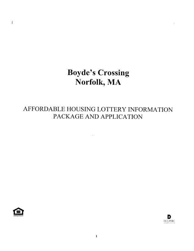 Boydes Crossing Norfolk MA Public Lottery Package