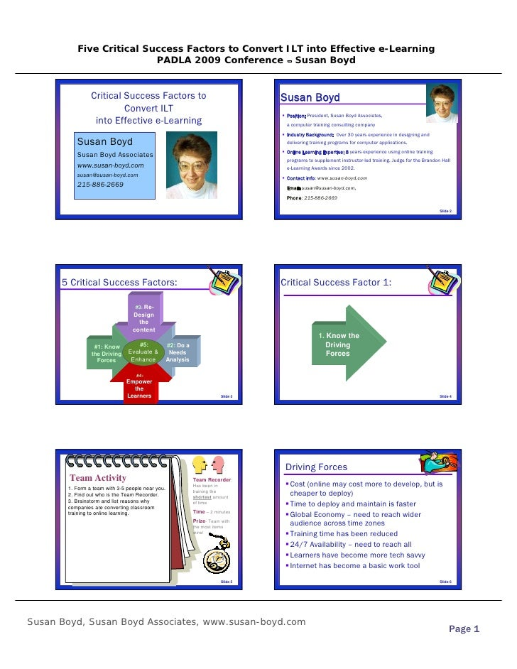 Five Critical Success Factors to Convert ILT into Effective e-Learning                           PADLA 2009 Conference – S...