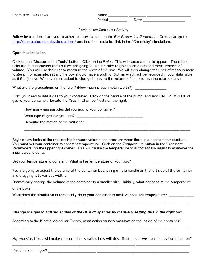 Boyles law computer activity – Kinetic Molecular Theory Worksheet