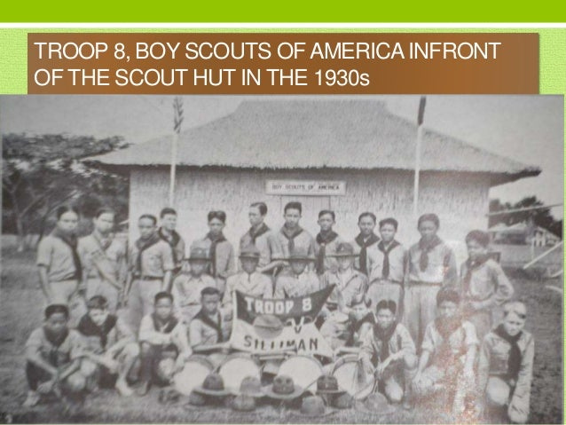 TROOP 8, BOY SCOUTS OFAMERICA INFRONT OF THE SCOUT HUT IN THE 1930s