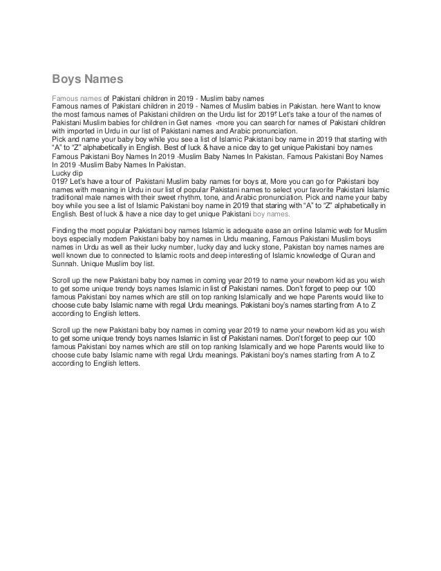 28+ Popular names pakistan info