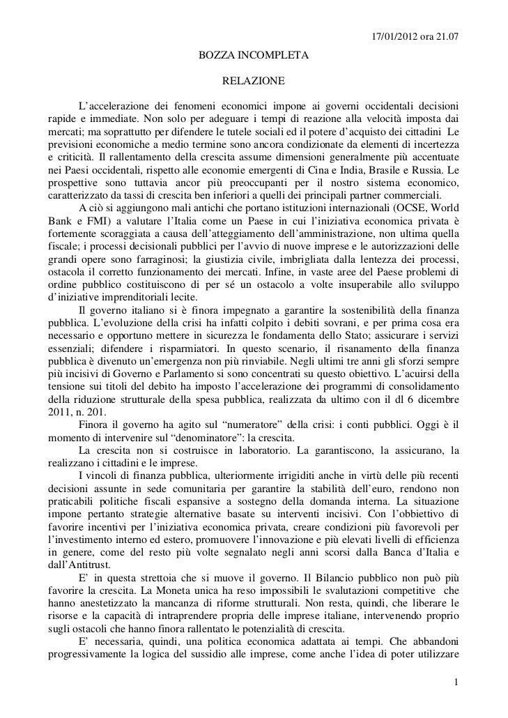 17/01/2012 ora 21.07                                   BOZZA INCOMPLETA                                        RELAZIONE  ...