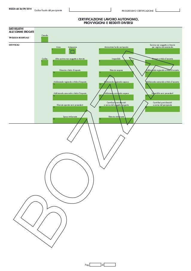 Bozza cu 2015 modello 26 09 2014 p - Certificazione lavoro autonomo provvigioni e redditi diversi causale a ...