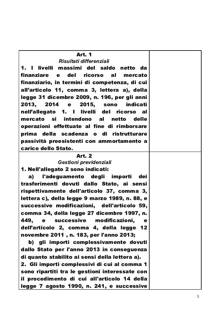 Art. 1               Risultati differenziali1. I livelli massimi del saldo netto dafinanziare e del ricorso al mercatofina...
